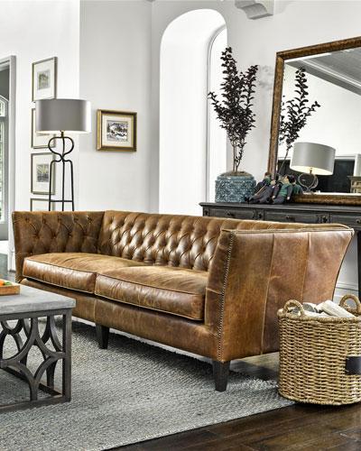 Schmidt Tufted Leather Sofa, 98