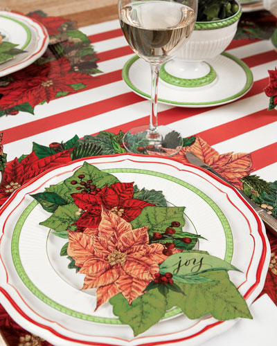 Poinsettia Paper Table Setting Decor Collection
