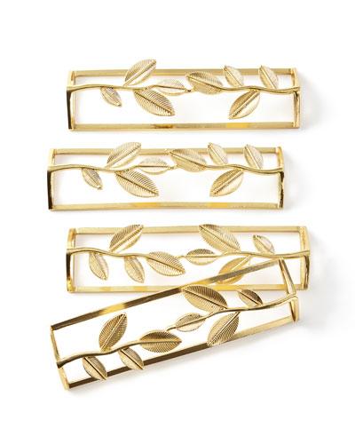 Leaf Gold Napkin Rings, Set of 4