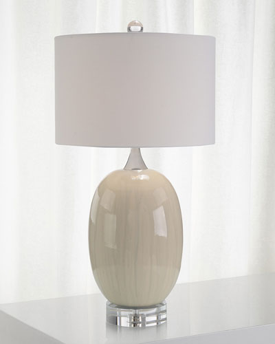 Ceramic Table Lamp with Crystal Base