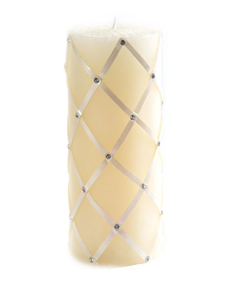 MacKenzie-Childs Pearl Sparkly Fishnet Pillar Candle