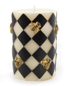 MacKenzie-Childs Black & White Bee Pillar Candle