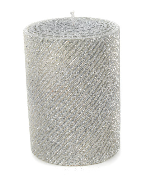 MacKenzie-Childs Silver Shimmer Pillar Candle