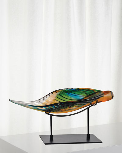 Art Glass Leaf with Stand