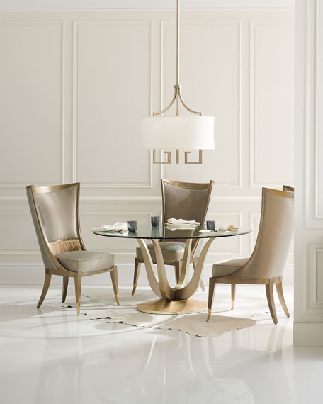 caracole Rounding Up Glass Top Dining Table