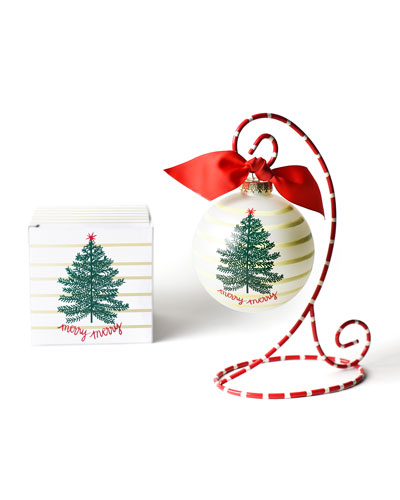 Merry Tree Glass Ornament with Stand
