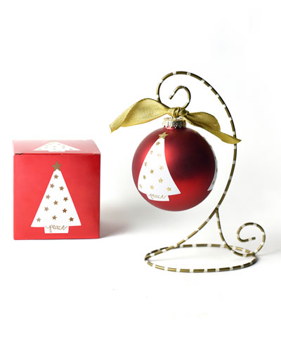 Peace Love Joy Luminary Tree Glass Ornament with Stand