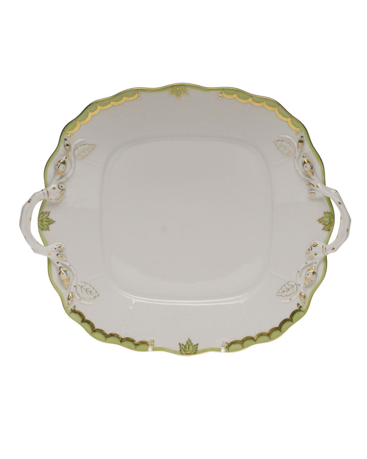 Herend PRINCESS VICTORIA GREEN SQUARE CAKE PLATE WITH HANDLES