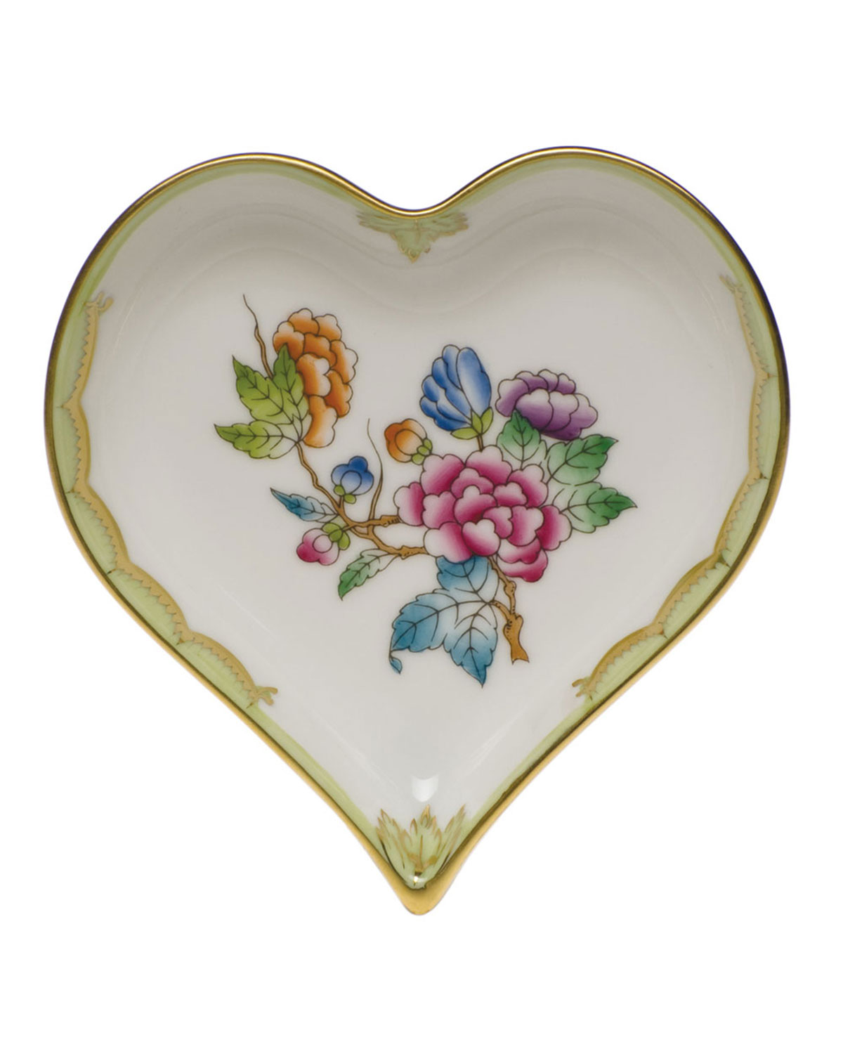 Herend QUEEN VICTORIA GREEN SMALL HEART TRAY