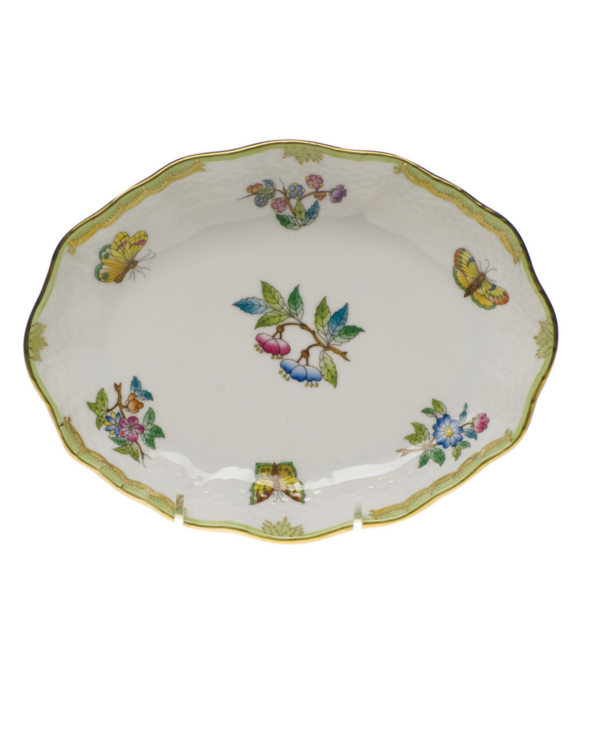 Herend QUEEN VICTORIA GREEN SMALL OVAL DISH
