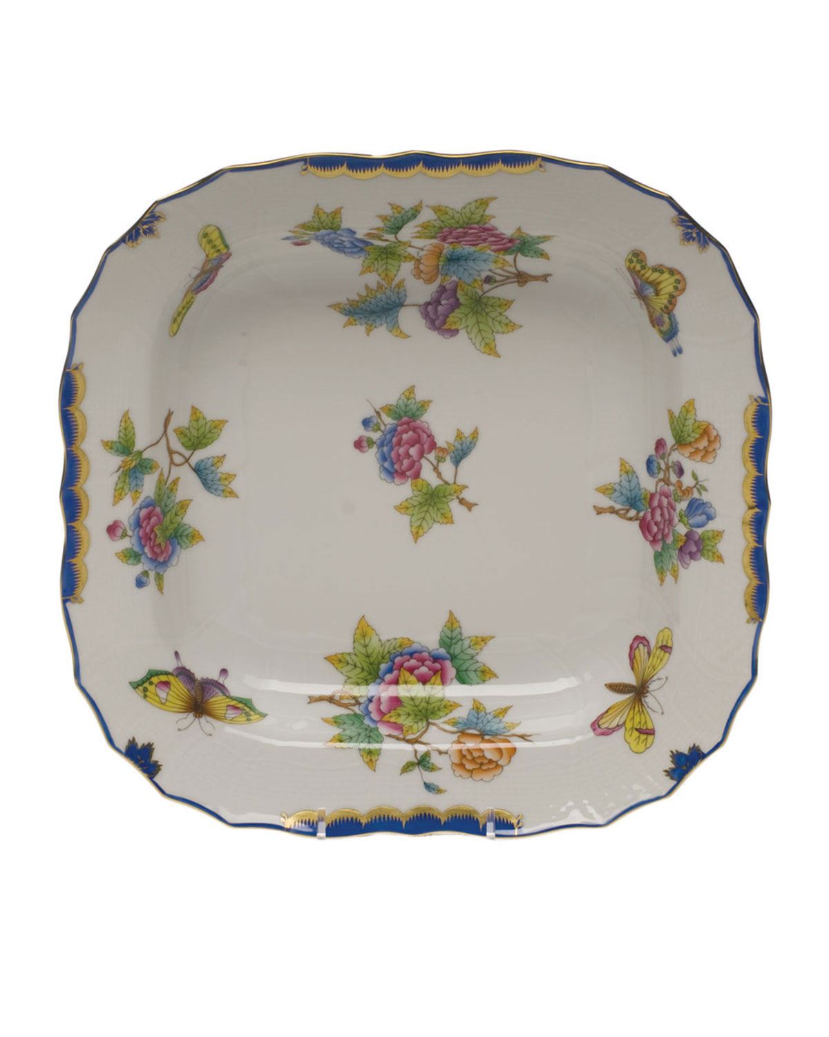 Herend QUEEN VICTORIA BLUE SQUARE FRUIT DISH