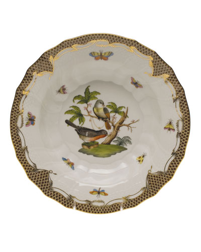 Rothschild Bird Brown Motif 02 Rim Soup Bowl