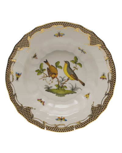 Rothschild Bird Brown Motif 07 Rim Soup Bowl