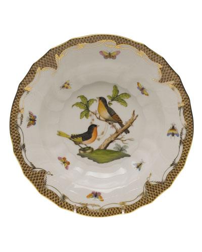 Rothschild Bird Brown Motif 08 Rim Soup Bowl