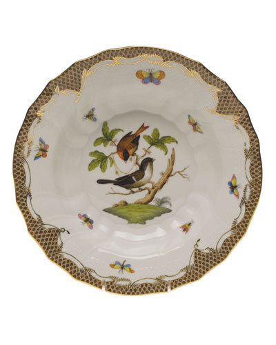 Rothschild Bird Brown Motif 04 Rim Soup Bowl
