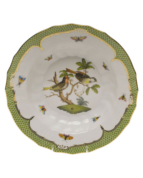 Herend Rothschild Bird Green Motif 11 Rim Soup Bowl