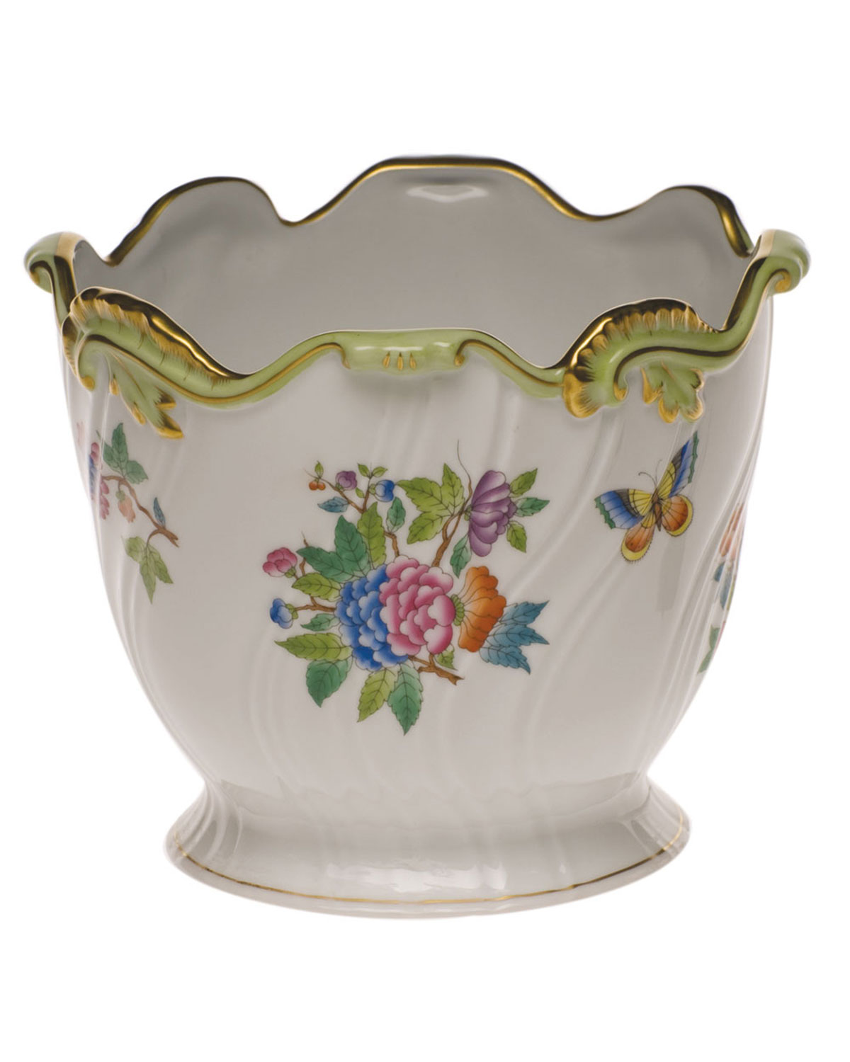 Herend QUEEN VICTORIA RIBBED CACHE POT