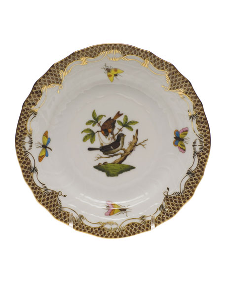 Herend Rothschild Bird Brown Motif 4 Bread & Butter Plate