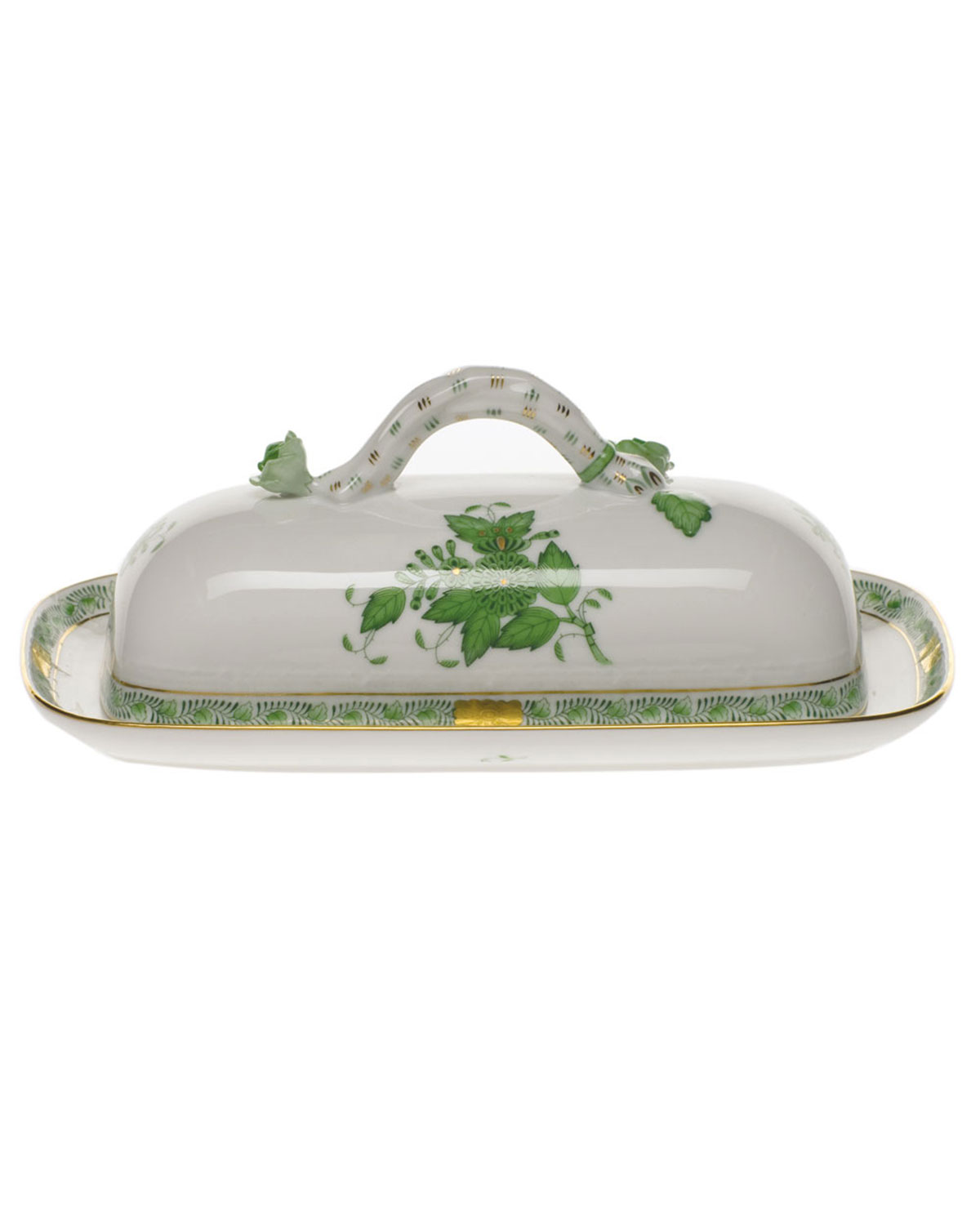 Herend CHINESE BOUQUET GREEN BUTTER DISH WITH BRANCH HANDLE
