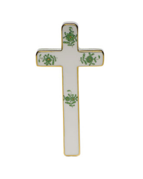 Herend Chinese Bouquet Decorative Porcelain Cross - Green
