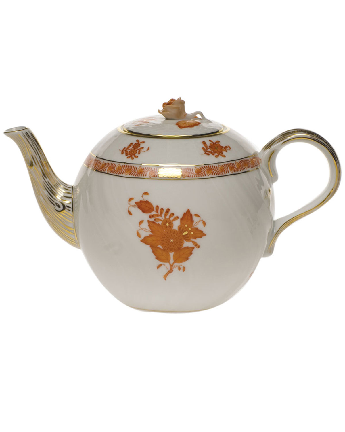 Herend CHINESE BOUTIQUE RUST TEAPOT WITH ROSE