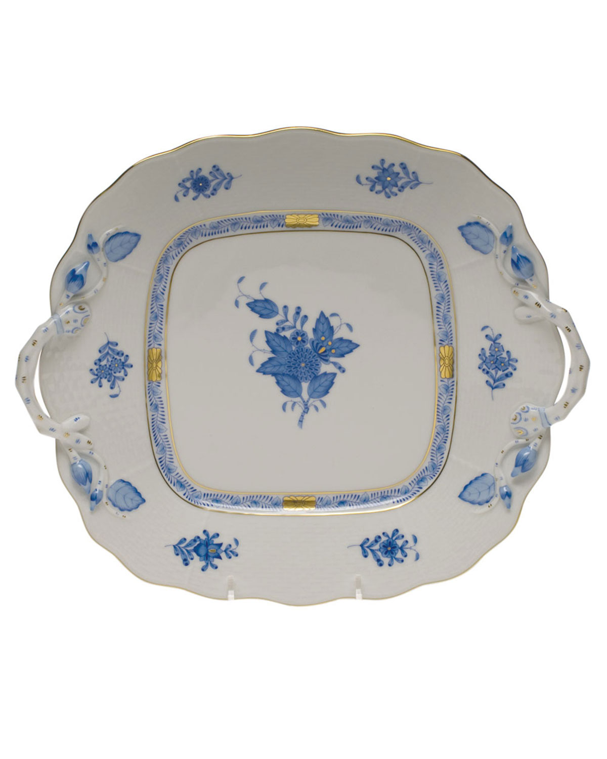 Herend CHINESE BOUQUET BLUE BUTTER DISH WITH BRANCH HANDLES