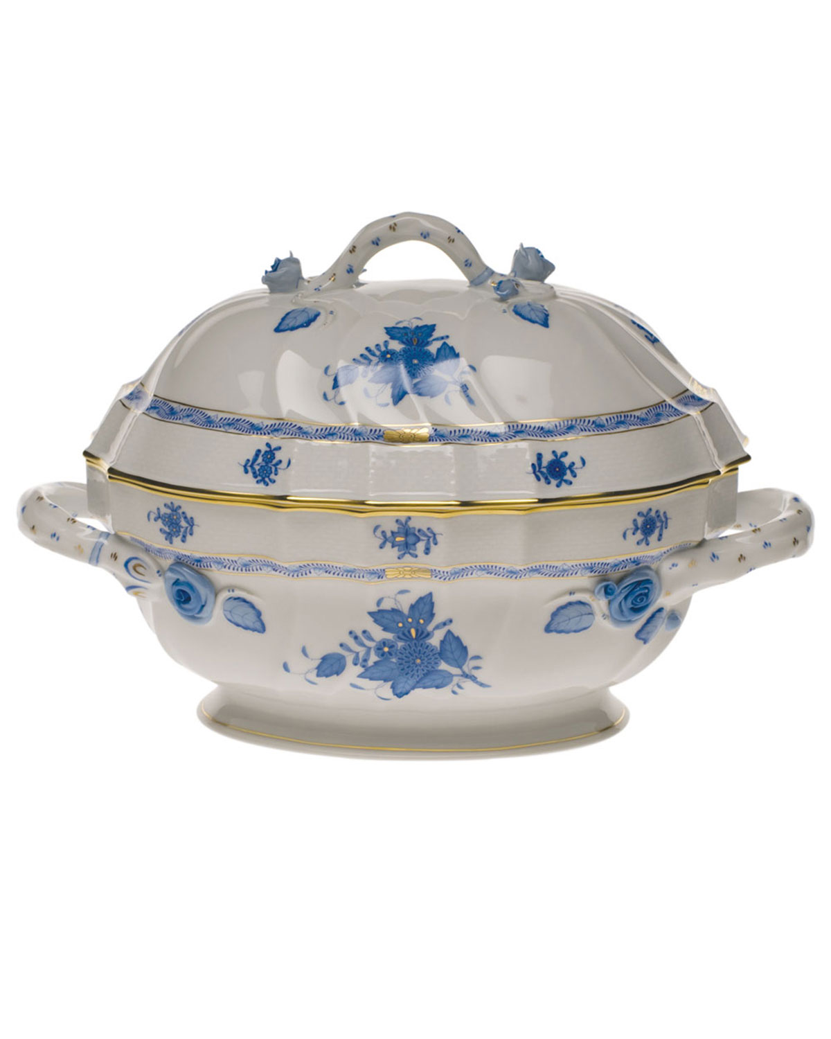 Herend Clothing CHINESE BOUQUET BLUE TUREEN WITH BRANCH HANDLE