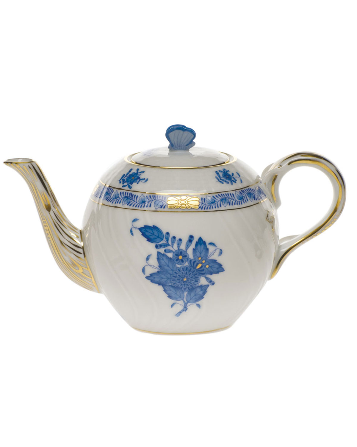 Herend CHINESE BOUQUET BLUE TEAPOT WITH BUTTERFLY