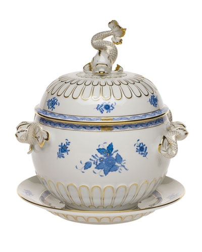 Chinese Bouquet Blue Tureen and Platter
