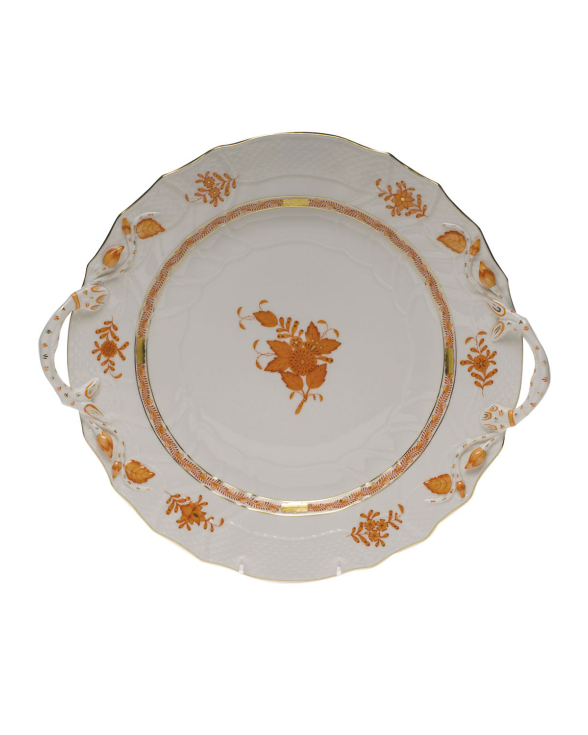 Herend CHINESE BOUTIQUE RUST CHOP PLATE WITH HANDLES