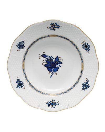 Chinese Bouquet Black Sapphire Rim Soup Bowl
