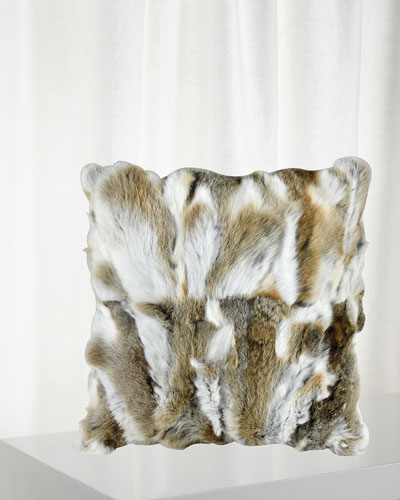 Genuine Rabbit Fur Decorative Pillow, 20