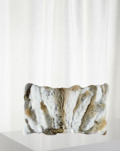 Genuine Rabbit Fur Decorative Pillow, 12