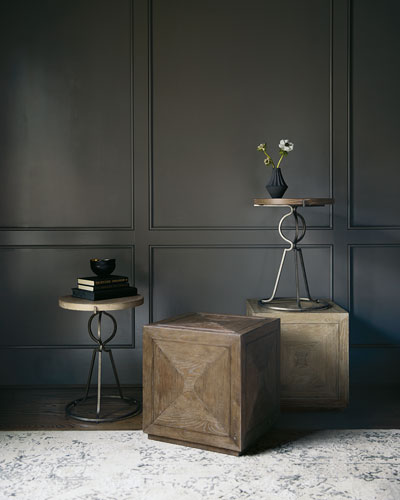 Rustic Patina Cube Side Table