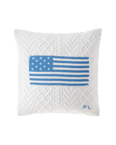 RL Cable Knit Flag Pillow, 20