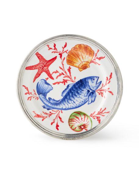 Neiman Marcus Ocean Pewter & Ceramic Dinner Plate