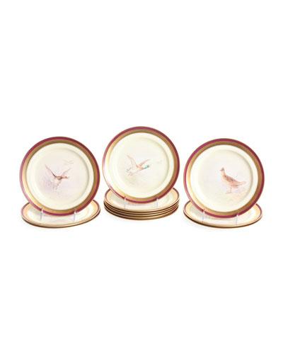 Antique Game Bird Plates, Set of 12