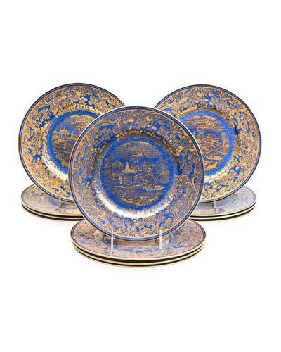 Crushed Lapis Gold Chinoiserie Plates, Set of 12