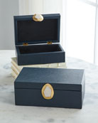 John-Richard Collection Onyx Pebble Grain Faux Leather Boxes,