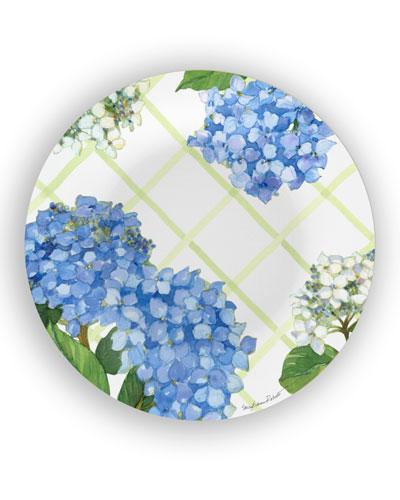 Hydrangea Lattice Shatter-Resistant Bamboo Dinner Plates, Set of 4