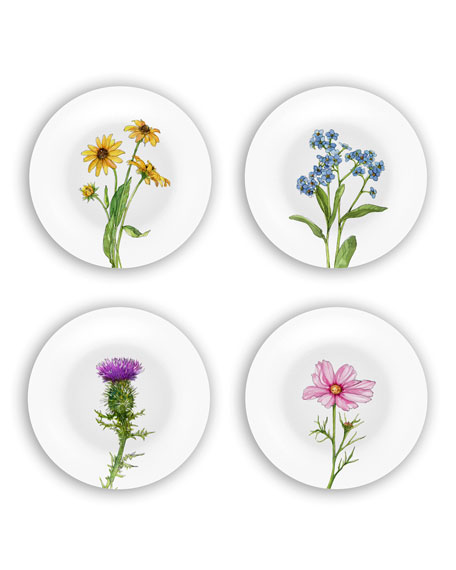 Bamboo Table Wildflowers Plates Gift Set