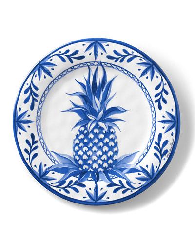 Blue Pineapple Shatter-Resistant Bamboo Dinner Plates, Set of 4