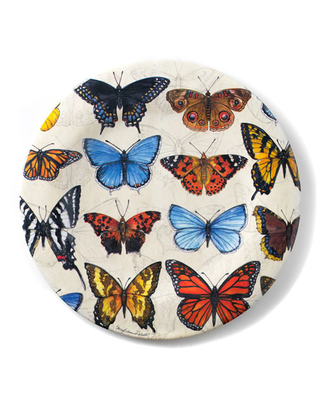 Bamboo Table Field Guide Butterflies Shatter-Resistant Bamboo Dinner Plates, Set of 4