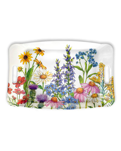 Wildflowers Shatter-Resistant Bamboo Serving Tray