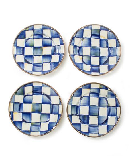 MacKenzie-Childs Royal Check Canape Plates, Set of 4
