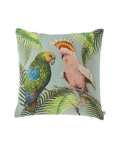 Parrot & Palm Azure Pillow