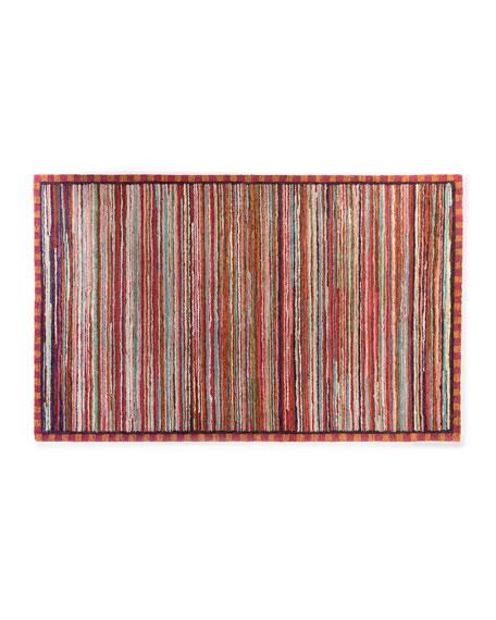 MacKenzie-Childs Super Pink Stripe Rug, 5' x 8'