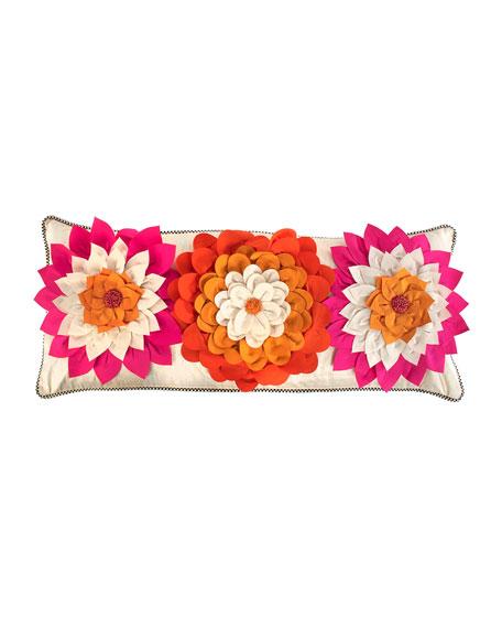 MacKenzie-Childs Super Pink Dahlia Lumbar Pillow