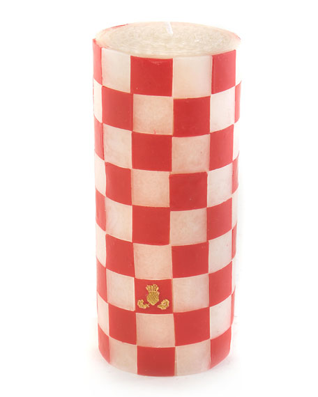 "MacKenzie-Childs Red Check 6"" Pillar Candle"