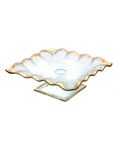 Ruffle Gold Square Cake Stand